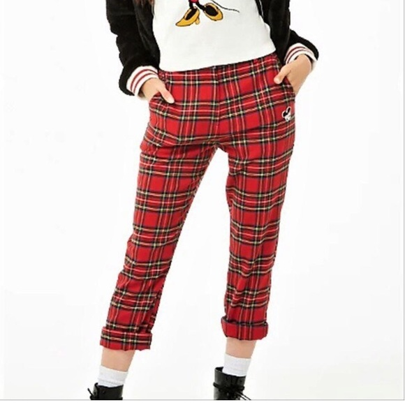 Forever 21 Pants - FOREVER 21 Women's Mickey Mouse Patch Plaid Pants